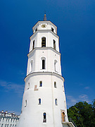 Low-angle view of the Vilnius Clocktower, Vilnius, Lithuania