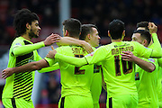 Celebrations as Huddersfield score a goal during the Sky Bet Championship match between Nottingham Forest and Huddersfield Town at the City Ground, Nottingham, England on 13 February 2016. Photo by Aaron  Lupton.