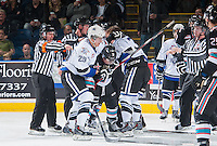 KELOWNA, CANADA - OCTOBER 9: Chaz Reddekopp #29 of Victoria Royals gets tangled with Riley Stadel #3 of Kelowna Rockets on OCTOBER 9, 2015 at Prospera Place in Kelowna, British Columbia, Canada.  (Photo by Marissa Baecker/Shoot the Breeze)  *** Local Caption *** Chaz Reddekopp; Riley Stadel;