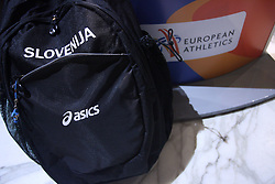 Slovenian bag at reception when Slovenian athletics team for European Athletics Indoor Championships come to their hotel Art&Tech Meridien in Torino,  Italy, on March 4, 2009. (Photo by Vid Ponikvar / Sportida)