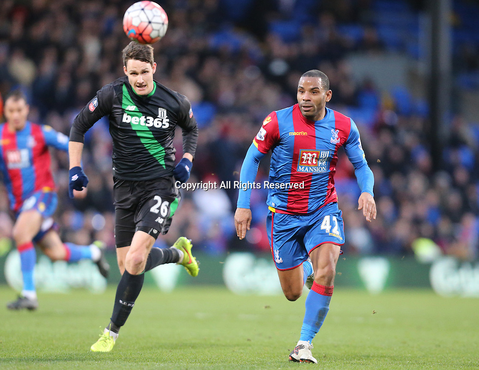 30.01.2016. Selhurst Park, London, England. Emirates FA Cup 4th Round. Crystal Palace versus Stoke. Philipp Wollscheid and Jason Puncheon