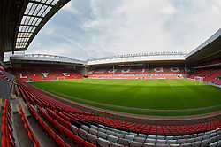 The view of the Anfield pitch from the Kemlyn Road Stand, centre of Block KH.