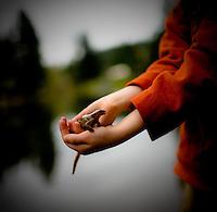 A boy holds a wet Salamander
