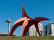 """Eagle"" 1971 painted steel by Alexander Calder (1898-1976), at Seattle Art Museum's Olympic Sculpture Park, 2901 Western Avenue, Seattle, Washington 98121. The Space Needle rises in background."