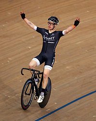 Matt Gibson celebrates winning the men's points race during Round One of the 2017/18 Revolution Series at Lee Valley Velo Park, London.