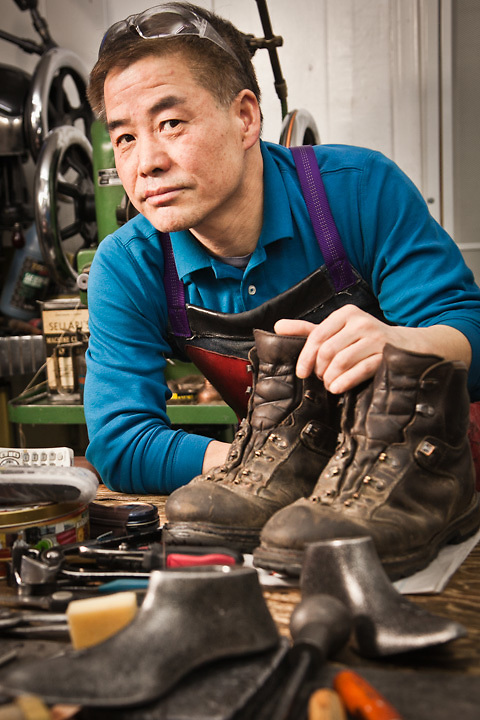 2.11.2012  Rak Chang, owner of ERA Shoe Repair, Fireweed Lane, Anchorage