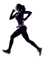 one young caucasian woman runner running jogger jogging isolated silhouette shadow on white background