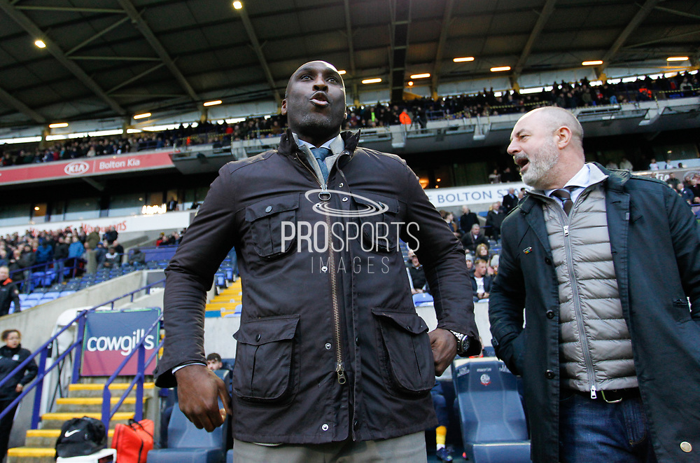 Southend United manager Sol Campbell with Bolton Wanderers manager Keith Hill during the EFL Sky Bet League 1 match between Bolton Wanderers and Southend United at the University of  Bolton Stadium, Bolton, England on 21 December 2019.