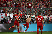 goal by Franck RIBERY (#7), 4:1, Bayern Munich's French midfielder  during the Bundesliga match vs Frankfurt. celebration, <br /> MUNICH, 18. MAY 2019,  Fc BAYERN vs Eintracht FRANKFURT, 5:1 - Bundesliga Football Match, <br /> FcBayern Muenchen vs Eintracht FRANKFURT Bundesliga match at Allianz Arena on 18.05.2019, DFL REGULATIONS PROHIBIT ANY USE OF PHOTOGRAPHS AS IMAGE SEQUENCES AND/OR QUASI-VIDEO - fee liable image, <br /> copyright &copy; ATP / Arthur THILL