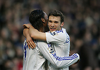 Photo: Lee Earle.<br /> Portsmouth v Chelsea. The Barclays Premiership. 03/03/2007.Chelsea's Andriy Shevchenko (R) congratulates Didier Drogba after he scored their opening goal.