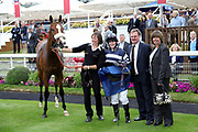 MISTER BELVEDERE with winning jockey Miss Sophie Dods, her father trainer Michael Dods and mother after winning The Queen Mothers Cup (for Lady Amateur Riders) over 1m 4f (£20,000)  during the Macmillan Charity Raceday at York Racecourse, York, United Kingdom on 16 June 2018. Picture by Mick Atkins.