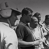 (l-r) Jack Brabham, Jo Bonnier, Stirling Moss at the 7th South African Grand Prix, East London, 27 December 1960