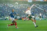 England v France - Estadio de Luz, Lisbon - 13th June 2004<br />England's Steven Gerrard and France's David Trezeguet<br />Photo: Jed Leicester/Sporting Pictures<br />© Sporting Pictures (UK) Ltd<br />www.sportingpictures.com<br />Tel: +44 (0)20 7405 4500<br />Fax: +44 (0)20 7831 7991