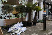 Potted plants await instillation into a business, currently being refurbished, on 6th February 2019, in London England.