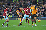 Jake Livermore of Hull City shoots at goal during the Sky Bet Championship match between Hull City and Burnley at the KC Stadium, Kingston upon Hull, England on 26 December 2015. Photo by Ian Lyall.