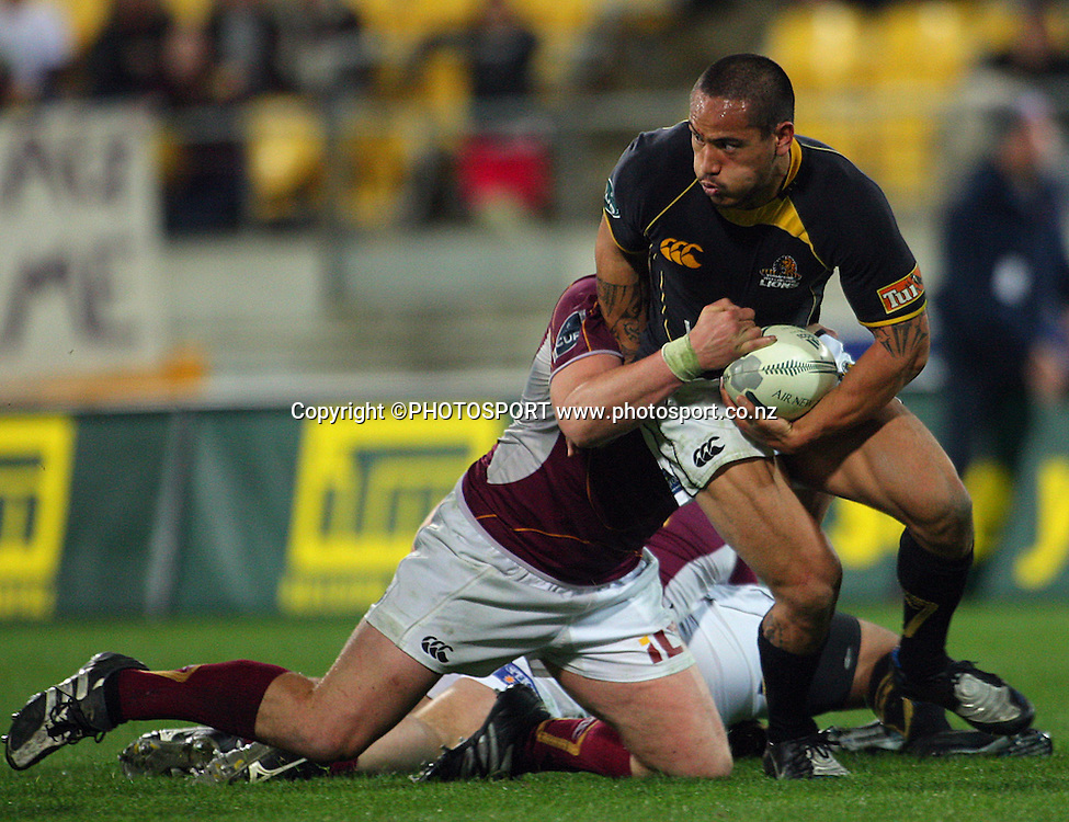 Hosea Gear looks for support in Jamie MacIntosh's tackle.<br /> Air NZ Cup semi-final. Wellington Lions v Southland Stags at Westpac Stadium, Wellington, New Zealand, Friday, 17 October 2008. Photo: Dave Lintott/PHOTOSPORT