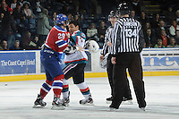 KELOWNA, CANADA, FEBRUARY 15: Tyrell Goulbourne #12 of the Kelowna Rockets gets in the face of Mitchell Moroz #29 of the Edmonton OIl Kings at the Kelowna Rockets on February 15, 2012 at Prospera Place in Kelowna, British Columbia, Canada (Photo by Marissa Baecker/Shoot the Breeze) *** Local Caption ***