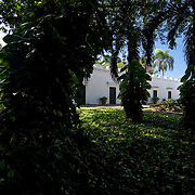 A lush garden and vine - covered tropical trees surround the Casa Blanca, the historic home of the descendants of Juan Ponce de Leon, which is located at the Western edge of what is today Old San Juan, Puerto Rico.
