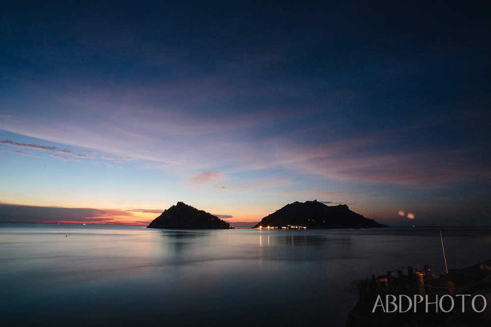 view over Nang Yuan islands from Koh Tao island Thailand
