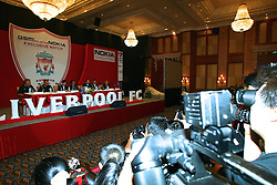BANGKOK, THAILAND - Thursday, July 22, 2003: Liverpool's manager Gerard Houllier at a press conference at the Merchant Court Hotel in Bangkok, ahead of their preseason match against Thailand. (Pic by David Rawcliffe/Propaganda)