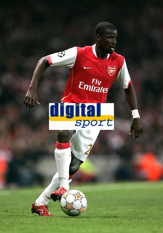 Photo: Tom Dulat.<br /> Arsenal v Slavia Prague. Group H, UEFA Champions League. 23/10/2007.<br /> Emmanuel Eboue of Arsenal with the ball.