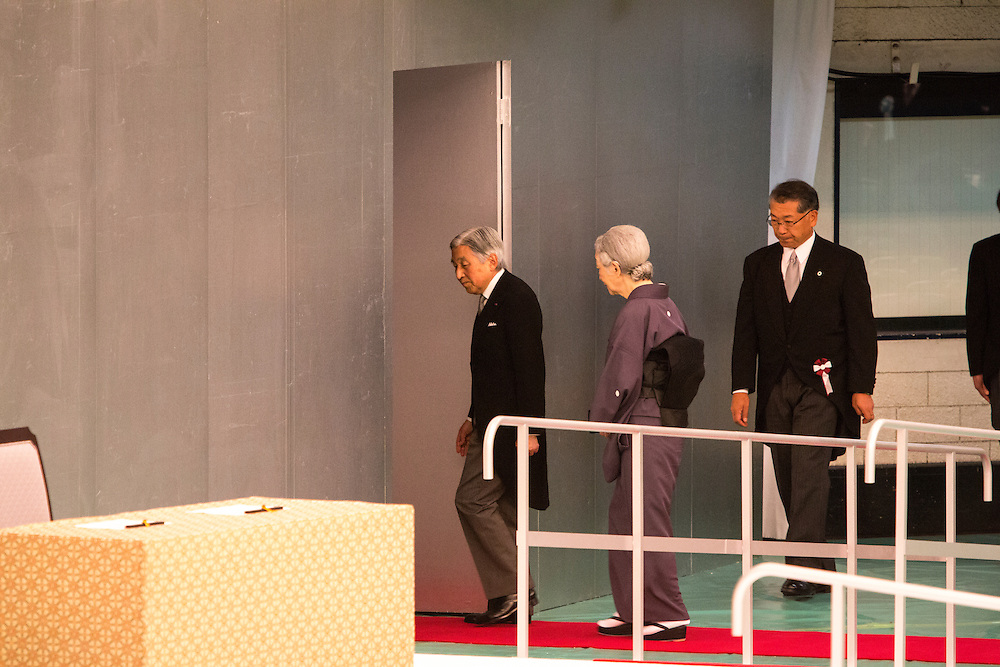 TOKYO, JAPAN - AUGUST 15 : Emperor Akihito and Empress Michiko leaves the venue during the memorial service at the Nippon Budokan on the 71st anniversary of the Japan's war surrender on August 15, 2016 in Tokyo, Japan.  (Photo by Richard Atrero de Guzman/NURPhoto)