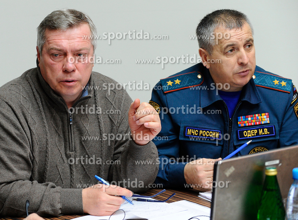 Governor of Rostov Region Vasily Golubev (L) attends an emergency meeting in Rostov-on-Don, southwestern Russia, March 19, 2016. A Boeing 737 passenger plane from Dubai crashed early Saturday at the destination airport in southwestern Russia, with all the some 60 people on board feared to have been killed, emergencies authorities and local media reports said. EXPA Pictures &copy; 2016, PhotoCredit: EXPA/ Photoshot/ RIA<br /> <br /> *****ATTENTION - for AUT, SLO, CRO, SRB, BIH, MAZ, SUI only*****