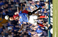 Photo. Richard Lane, Digitalsport..<br /> Portsmouth v Manchester United. FA Barclaycard Premiership. 17/04/2004.<br /> Ayegbeni Yakubu is challenged by Wes Brown and Nicky Butt.