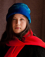 Young Girl with Red Scarf and Blue Hat