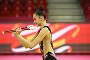 Alina Harnasko, Belarus, during the 33rd European Rhythmic Gymnastics Championships at Papp Laszlo Budapest Sports Arena, Budapest, Hungary on 20 May 2017. The Belarus team won the silver medal. Photo by Myriam Cawston.