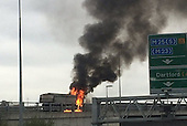 A lorry engulfed in fire on the A2 has blocked the Dartford Crossing