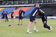 Moeen Ali with Ben Stokes during the England training session ahead of the 4th ODI, at Pallekele International Cricket Stadium, Pallekele, Sri Lanka on 19 October 2018.