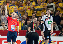 Referee with a red card for Jannik Kohlbacher of Germany after he faulted Johan Jakobsson of Sweden during handball match between National teams of Germany and Sweden on Day 4 in Preliminary Round of Men's EHF EURO 2016, on January 18, 2016 in Centennial Hall, Wroclaw, Poland. Photo by Vid Ponikvar / Sportida