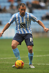 ADAM ARMSTRONG COVENTRY CITY, BATTLES WITH FLEETWOODS VICTOR NIRENNOLD, JOE COLE COVENTRY CITY, Coventry City v Fleetwood Town Ricoh Arena, Sky Bet League One Saturday 27th February 2016