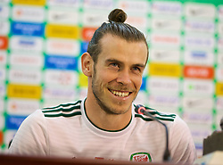 NANNING, CHINA - Thursday, March 22, 2018: Wales' record Gareth Bale attends the post-match press conference after his hat-trick made him the country's leading goal-scorer, surpassing the record held by Liverpool legend Ian Rush, after the opening match of the 2018 Gree China Cup International Football Championship between China and Wales at the Guangxi Sports Centre. (Pic by David Rawcliffe/Propaganda)