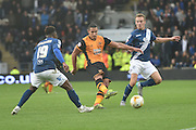 Jake Livermore of Hull City shoots towards goal during the Sky Bet Championship match between Hull City and Birmingham City at the KC Stadium, Kingston upon Hull, England on 24 October 2015. Photo by Ian Lyall.