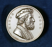 Marco Polo (1254-1324) Venetian traveller and merchant. Portrait from obverse of commemorative medal.