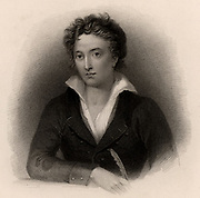 Percy Bysshe Shelley (1792-1822) English poet, born near Horsham, Sussex. Engraving.