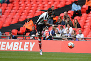 Grimsby Town striker Omar Bogle  during the FA Trophy match between Grimsby Town FC and Halifax Town at Wembley Stadium, London, England on 22 May 2016. Photo by Dennis Goodwin.