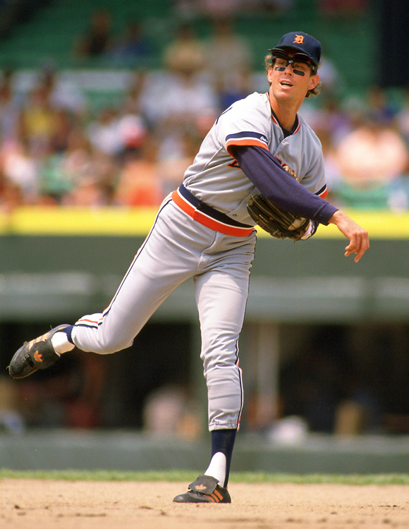 CHICAGO - 1987:  Alan Trammell of the Detroit Tigers fields during an MLB game versus the Chicago White Sox at Comiskey Park in Chicago, Illinois during the 1987 season. (Photo by Ron Vesely).  Subject:   Alan Trammell