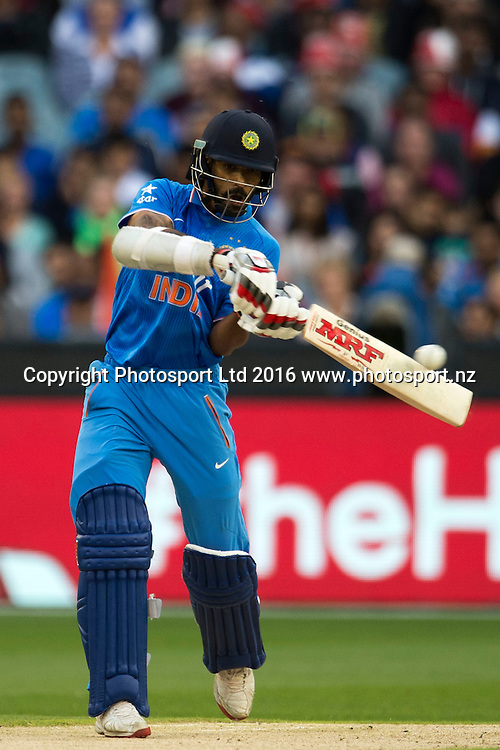 Indian player Shikhar Dhawan in action during the Twenty20 match between Australia and India at the MCG in Melbourne, Australia. Friday 29 January 2016. Copyright photo: Raghavan Venugopal / www.photosport.nz