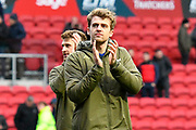 Patrick Bamford (9) of Leeds United applauds the Leeds fans at full time after a 1-0 win over Bristol City during the EFL Sky Bet Championship match between Bristol City and Leeds United at Ashton Gate, Bristol, England on 9 March 2019.
