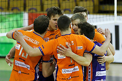 Players of ACH celebrate during volleyball match between ACH Volley and Calcit Volleyball in Round #3 of Finals of 1. DOL Slovenian Championship 2014/15, on April 19, 2015 in Hala Tivoli, Ljubljana, Slovenia. Photo by Matic Klansek Velej / Sportida