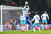 Newcastle United goalkeeper Robert Elliot (21)  attempts to collect the cross under pressure during the Barclays Premier League match between Leicester City and Newcastle United at the King Power Stadium, Leicester, England on 14 March 2016. Photo by Simon Davies.