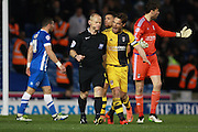 Fulham midfielder Scott Parker protests with referee Andy Woolmer after the award of a first half penalty during the Sky Bet Championship match between Brighton and Hove Albion and Fulham at the American Express Community Stadium, Brighton and Hove, England on 15 April 2016. Photo by Bennett Dean.