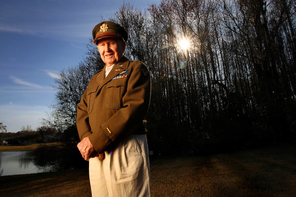 PT_317879_FITT_billcol_1 (01/28/2010 New Port Richey) United States Air Force World War II B-24 pilot Nick Radosevich, 92, stands proudly in his military uniform that still fits him to this day. The decorated pilot flew 32 bombing missions in his two bombers, the Lucky Penny and Lucky Penny II.