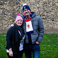 England fans outside Cardiff Castle<br /> <br /> Photographer Simon King/Replay Images<br /> <br /> Six Nations Round 3 - Wales v England - Saturday 23rd February 2019 - Principality Stadium - Cardiff<br /> <br /> World Copyright © Replay Images . All rights reserved. info@replayimages.co.uk - http://replayimages.co.uk