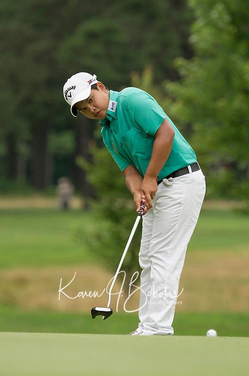 P.K. Kongkraphan takes a putt during Saturday's round of the Symetra LPGA Tour at Beaver Meadow Golf Course.  (Karen Bobotas/for the Concord Monitor)