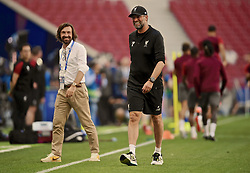MADRID, SPAIN - Friday, May 31, 2019: Former Italian international Andrea Pirlo meets Liverpool's manager Jürgen Klopp during a training session ahead of the UEFA Champions League Final match between Tottenham Hotspur FC and Liverpool FC at the Estadio Metropolitano. (Pic by Handout/UEFA)