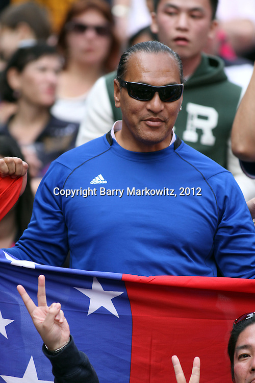 Proud Samoan fan at the Hong Kong Sevens International Rugby Tournament, Hong Kong Stadium, Hong Kong.  Photo by Barry Markowitz, 3/25/12, Courtesy Tri Marine and Samoa Tuna Processors